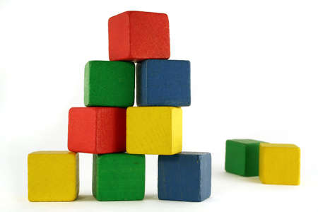 Photo pour building from wooden colourful childrens blocks - image libre de droit
