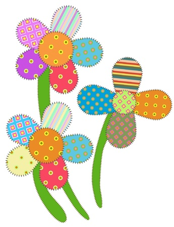 Illustration pour picture of patchwork flowers, isolate on white - image libre de droit