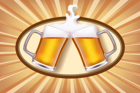illustration of two glases of white beer smashes each other on shiny background