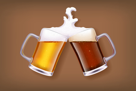 illustration of two glasses of white and dark beer smashes each other