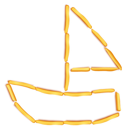 illustration of sail boat silhouette maded from french fries on white