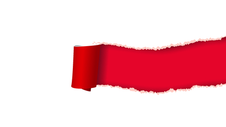 illustration of rolled torn paper red and white color
