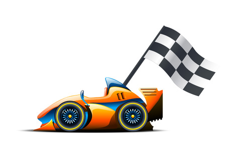 illustration of race car and flag on it on white background