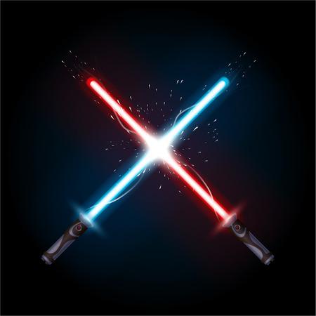 Ilustración de illustration of light swords in battle on dark background - Imagen libre de derechos