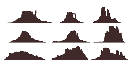 Illustration pour illustration of desert mountains set silhouette isolated on white background - image libre de droit