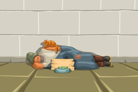 Illustration pour illustration of homeless man sleeping at a grey wall and red cat sitting on him - image libre de droit