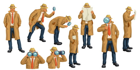 Vektor für illustration of spy in coat in different poses isolated on white background - Lizenzfreies Bild
