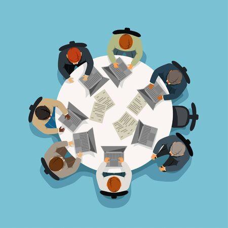 Illustration pour business meeting view from top - image libre de droit
