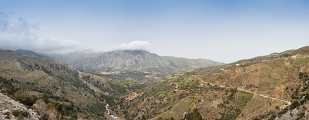Panoramic landscape over Asi Gonia Mountains in Crete, Greece