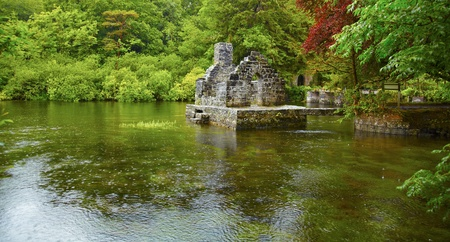 Panorama of Monk's fishing house at Cong Abbey on a rainy day, Ireland.