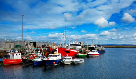 Boats in Rossaveel harbor in summer, county Galway, Ireland.