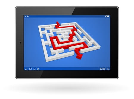 3d tablet computer with labyrinth - maze business concept