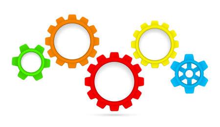 Photo pour gears cogs colored teamwork mechanism isolated on white - image libre de droit