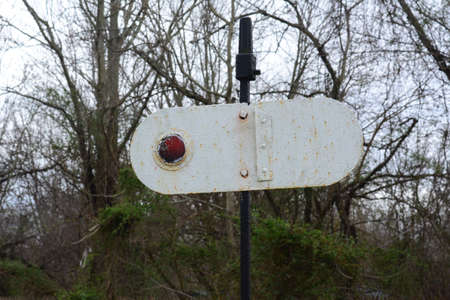 Richland, New Jersey March 21, 2016 A rotating Reflector sign to signal trains, giving them instructions of what to do.