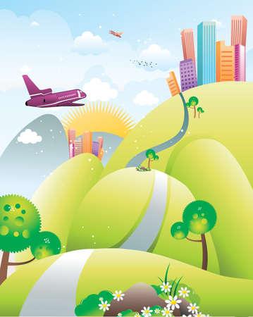Illustration pour landscape and city vector illustration - image libre de droit
