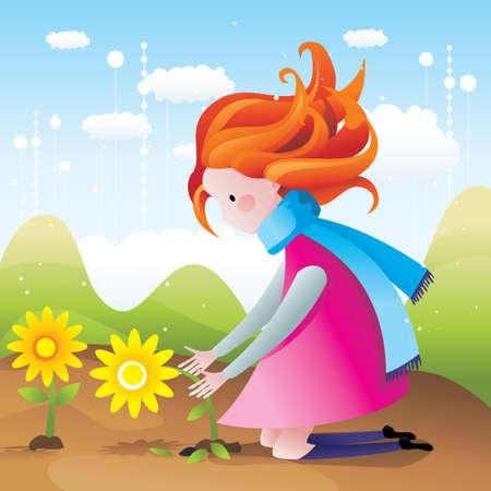 girl picking flowers vector