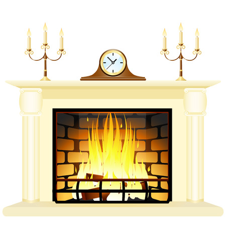 Vector illustration of a fireplace