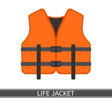 Ilustración de Vector illustration of orange life jacket isolated on white background, flat style. - Imagen libre de derechos