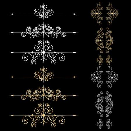 Illustration pour Set of page decoration elements or monograms. Can be used for designing books, cards, menus, advertisments, tattoo etc. - image libre de droit