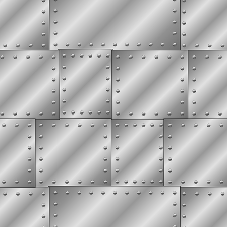 Illustration pour Seamless vector texture with riveted metal sheets. You can create the wallpaper with this pattern, color of elements can be changed as you want. - image libre de droit