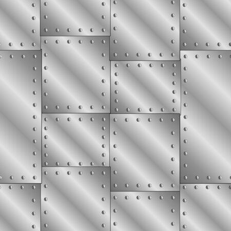 Illustration pour Seamless vector texture with riveted metal sheets. - image libre de droit