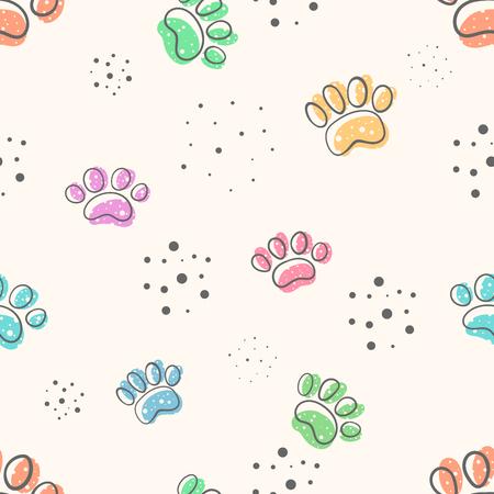 Ilustración de dog paw - cute seamles pattern. Hand draw - Imagen libre de derechos