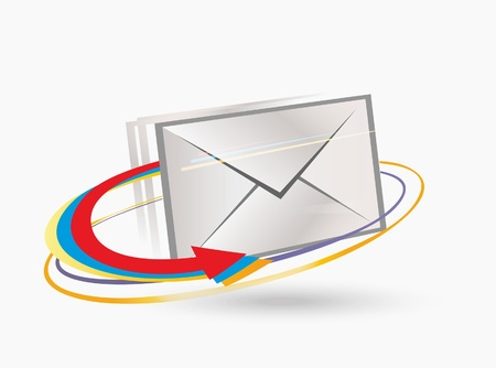 Postal envelope with arrows.