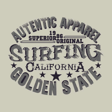 t-shirts surf, LA Beach, california surfing, T-shirt inscription, typography graphic design emblem