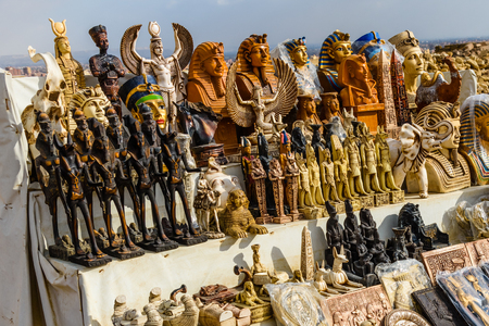 Different egyptian souvenirs for sale in street shop