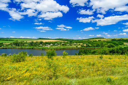 Photo for Beautiful lake with green shores on summer - Royalty Free Image