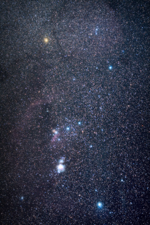 Real photo of starry night sky with the Orion constellation. The shot was done with total ex