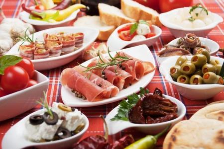 Antipasto, tapas, various appetizer food traditional in meditarranean countries