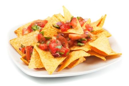Nachos corn chips with fresh homemade mexican salsa
