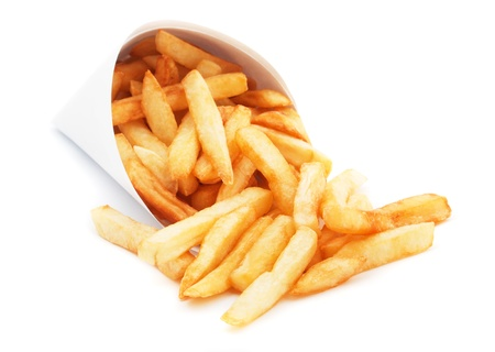 French fries, fried potato isolated on white background