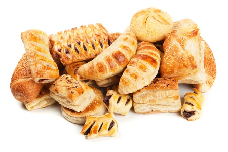 Croissants and other puff pastry isolated on white background