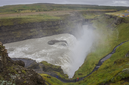 Beautiful and famous Gullfoss waterfall, Golden circle route in Iceland