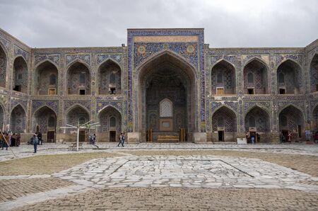 Samarkand, Uzbekistan - April 26, 2015: Courtyard of Sherdar Madrasa on Registan Square in Samarkand.