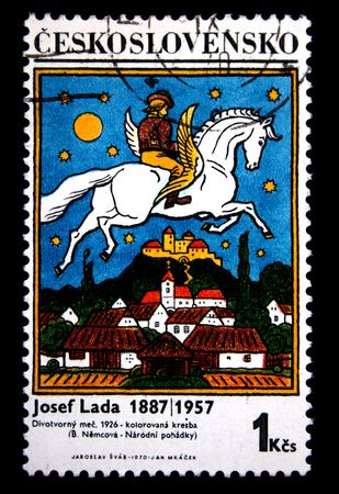 A stamp printed in Czechoslovakia shows paint by artist Josef Lada