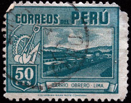 PERU - CIRCA 1940s: A stamp printed in Peru shows Bario Obrero - Lima, circa 1940s