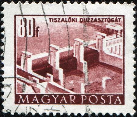 HUNGARY - CIRCA 1958: A stamp printed in Hungary shows Tiszaloki Dam, circa 1958