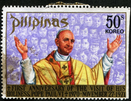 PHILIPINAS - CIRCA 1971: A stamp printed in Philipinas honored First anniversary of the Visit of His Holiness Pope Paul VI, 1970, November, 27, circa 1971