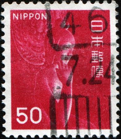 JAPAN - CIRCA 1967: A stamp printed in Japan shows wooden statue Miroku Bosatsu in Monastery Chuguji, circa 1967