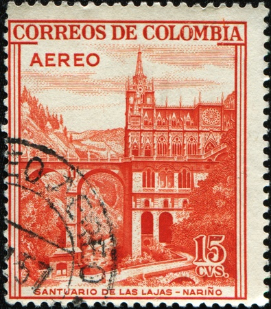 COLOMBIA - CIRCA 1954: A stamp printed in Colombia shows Santuario de las Lajas, Narino, circa 1954