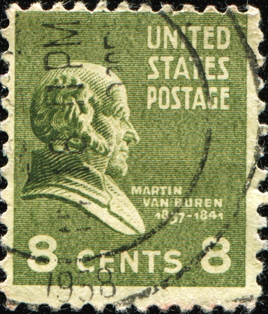 UNITED STATES OF AMERICA - CIRCA 1931: A stamp printed in the USA shows image of President Martin Van Buren, circa 1931