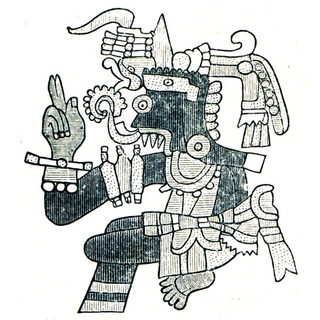Aztec God of WeatherTlaloc  - an illustration of the encyclopedia publishers Education, St. Petersburg, Russian Empire, 1896