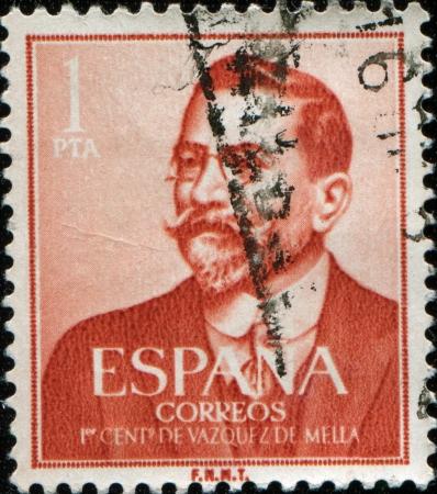 SPAIN - CIRCA 1961: A stamp printed in Spain issued for the birth Centenary of Juan Vazquez de Mella shows politician and writer Vazquez de Mella, circa 1961
