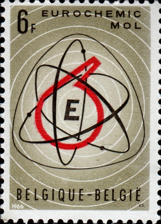 BELGIUM - CIRCA 1966  A stamp printed in Belgium shows European Chemical Plant, Mol Eurochemic Symbol , Brussels, circa 1966