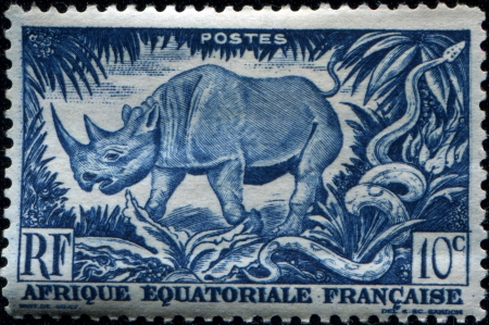 FRENCH EQUATORIAL AFRICA - CIRCA 1947  A stamp printed in French Equatorial Africa  now Gabon  shows black rhinoceros, circa 1947