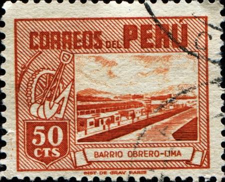 PERU - CIRCA 1938  A stamp printed in Peru shows Labourers