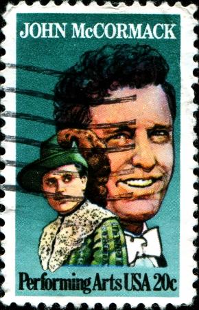 USA - CIRCA 1984  A stamp printed in United States of America honoring the centennial year of Irish-American tenor John McCormack